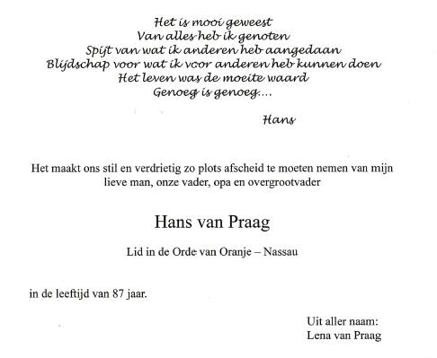 Erelid Hans van Praag overleden